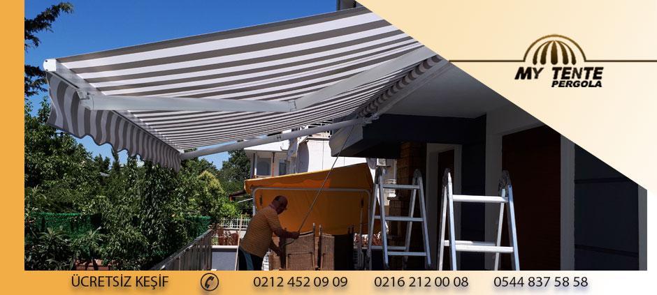 Mafsallı Tente Beyaz Gri Cizgili  Dış Mekan Balkon Örneği