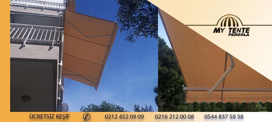 Mafsallı Tente Krem Balkon Katlanır Cam Önü  Dış Cephe Örneği
