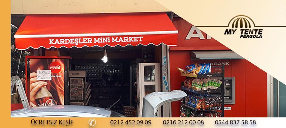 Mafsallı Tente Kırmızı Mini Market Örneği
