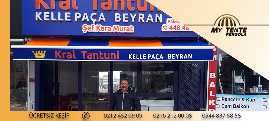 Mafsallı Tente Mavi Turuncu Lokanta Örneği